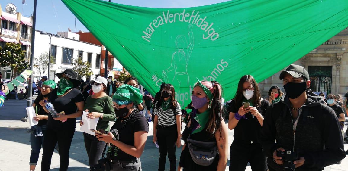 Marea verde se manifiesta en Hidalgo