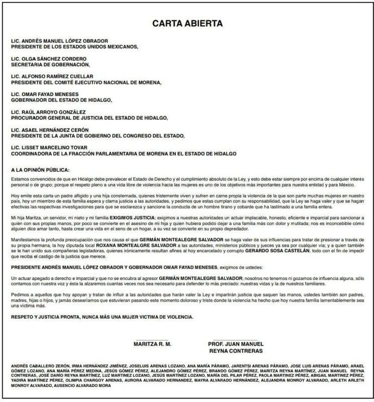 Envían carta a AMLO, exigen castigo a hermano de Roxana Montealegre
