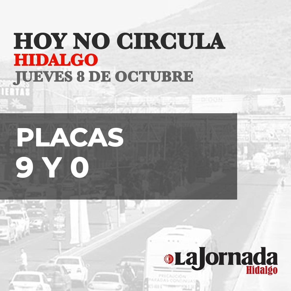 Hoy No Circula Hidalgo jueves 8 de octubre