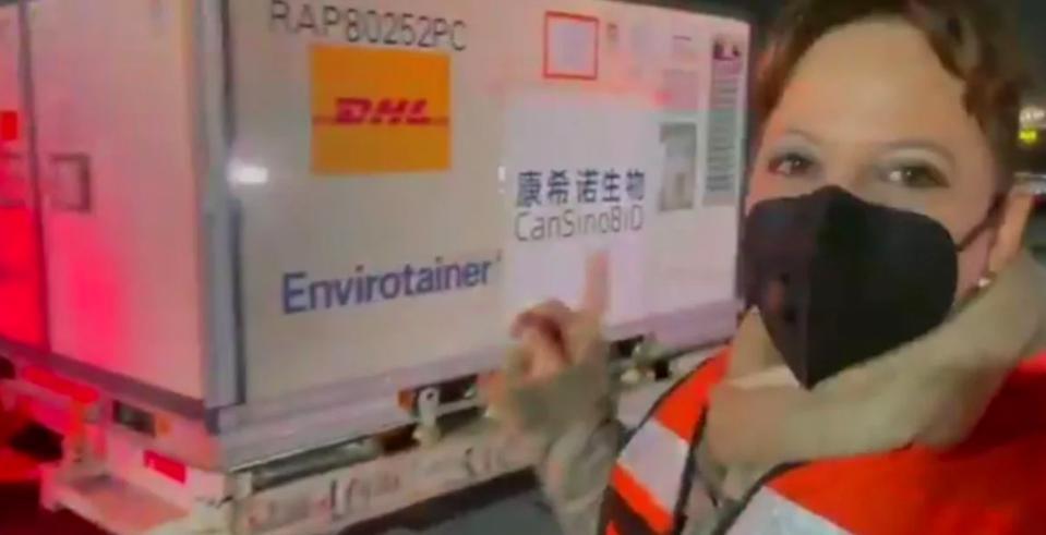 Llegaron a México 2 millones de dosis de vacuna china CanSino, informo la subsecretaria para Asuntos Multilaterales y Derechos Humanos de la Secretaría de Relaciones Exteriores (SRE), Martha Delgado