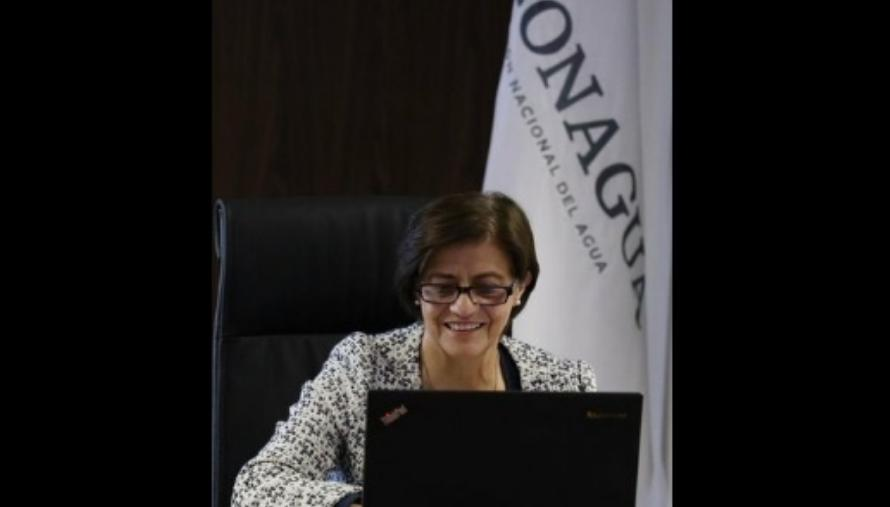 Blanca Jiménez durante una reunión virtual. Foto tomada de la cuenta de Twitter @conagua_mx / archivo