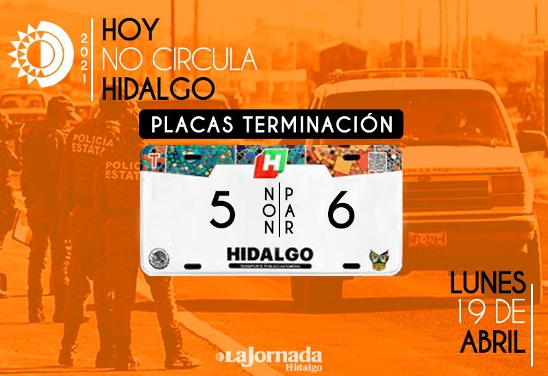 Hoy no Circula Hidalgo Lunes 19 de Abril